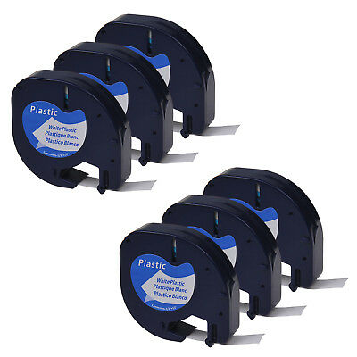 6PK Black on White Plastic Label Tape 1/2'' Fit for DYMO Letra Tag LT 91331 QX50