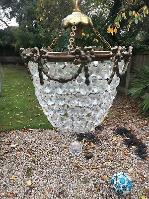 Original French antique / vintage crystal bag chandelier - very good condition