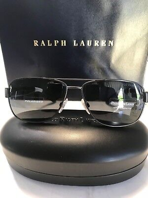Polo Ralph Lauren Mens Polorized Carbon Grey Sunglasses w Grey Lens New in Case
