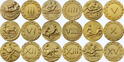 9 Erotic Roman Brothel Tokens, Spintriae (20 - 40 A.D.) Real 24K Gold Plate