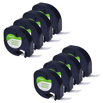 8 PK S0721510 Black on White 1/2'' Paper Label Tape for DYMO Letratag 91330 QX50