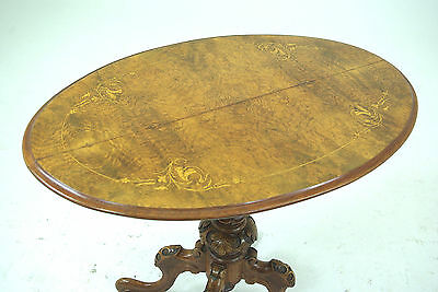 Walnut Oval Table | Antique Inlaid Burled | Carved Base | Scotland 1870 | B287x