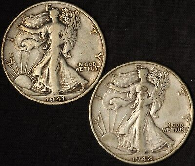 1941-S and 1942-S Walking Liberty Half Dollars - Free Shipping USA