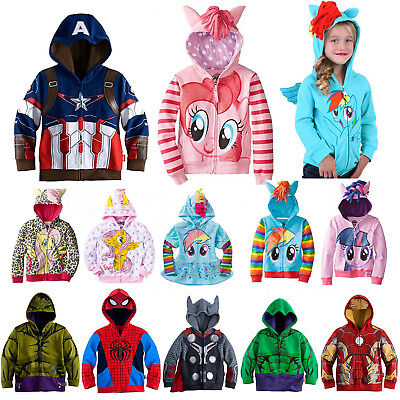 Kids Girls Hoodies My Little Pony / Superhero Sweatshirt Coat Zip Jacket Clothes