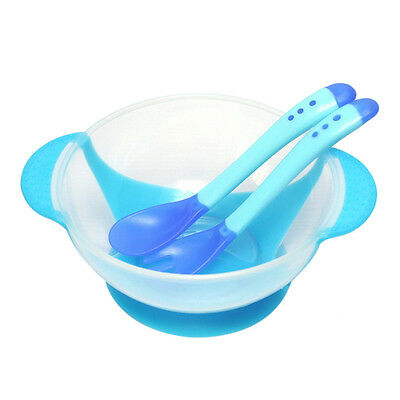 3x/set Baby Kid Learning Dishes With Suction Temperature Sensing Spoon Tableware