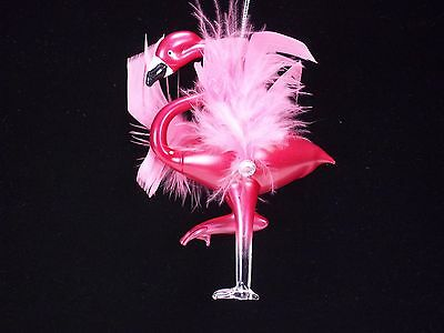 Hand blown pink glass flamingo with real feather christmas ornament