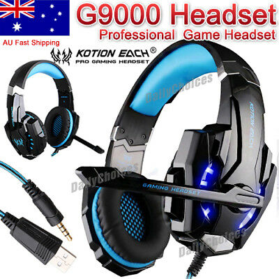 EACH G9000 3.5mm Gaming Headphone Microphone USB Headset LED Light For PS4 AU