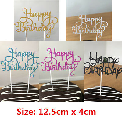 Happy Birthday Cake Toppers Fancy Decoration Picks Parties Event two lines