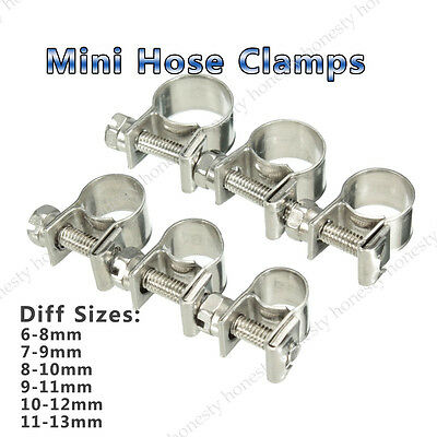 1Pc Stainless Steel Mini Fuel Line Pipe Hose Clamp Clip 6mm-33mm All Sizes
