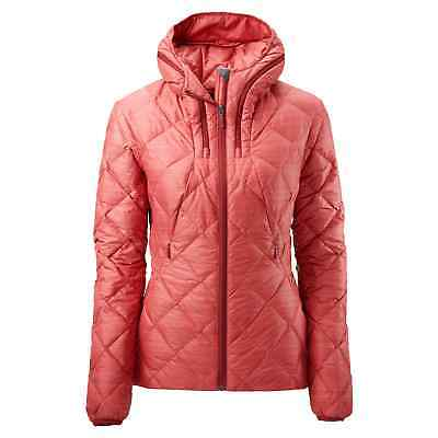 Kathmandu Yatra Womens Hooded Goose Down Insulated Puffer Travel Jacket Red