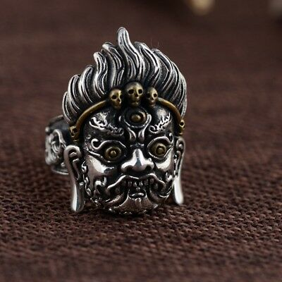 925 Sterling Silver  men's PUNK Retro ring rings jewelry adjustable size p661