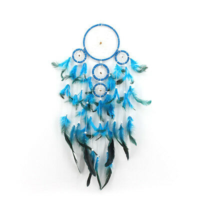 Blue Dream Catcher With feathers Wall Hanging Decoration Decor Bead Ornament DIY