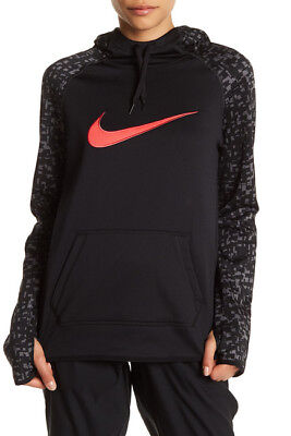 803446-011 New with Tag NIKE Women's thermafit printed black pull over hoodie