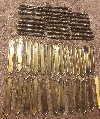 "25 Vintage Metal Ornate Drawer Pulls 3"" Center & 6 1/2 Backplates Lot Set"