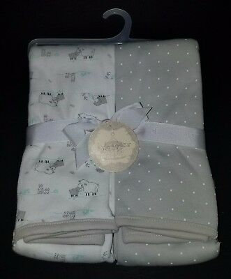 NWT 2 Kyle & Deena Receiving Blankets Gray White Sheep Lambs Polka Dot Lovey Lot