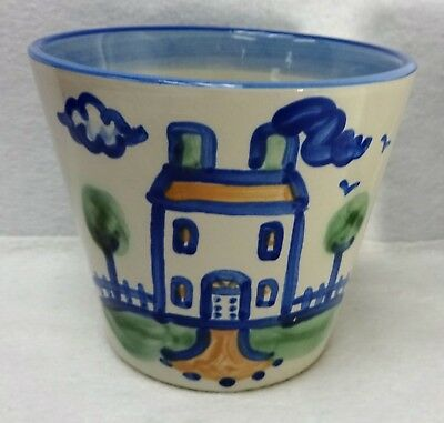 M. A. HADLEY company COUNTRY SCENE - HOUSE pattern Cachepot or Flower Pot - 5""
