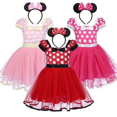 d9e76a287 Kids Girls Baby Toddler Minnie Mouse Outfits Party Costume Tutu Dress +  Headband