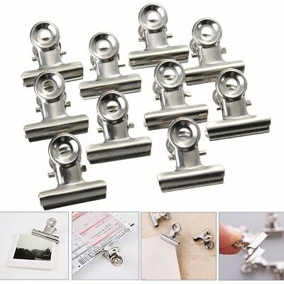 10-100Pcs Stainless Steel Silver Bulldog Clips Letter Paper File Clothes Clamps