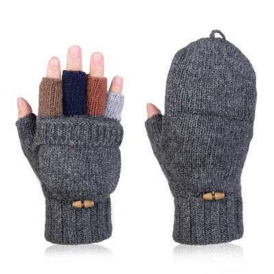 2in1 Men Women Convertible Fingerless Gloves Warm Wool Knitted Fold Back Mittens