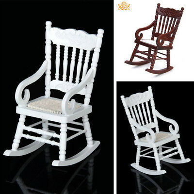 Cute 1/12 Miniature Dollhouse Wooden Rocking Chair Furniture Model Toy TU