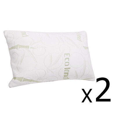 2x Pillows Bamboo Fabric Cover Shred Memory Foam Neck Back Support Bed 70x40cm