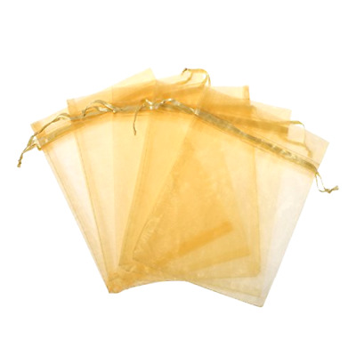 Organza Drawstring Gift Bag Kupoo Pack of 50 Pieces 8 x 12 Inches In Gold Color