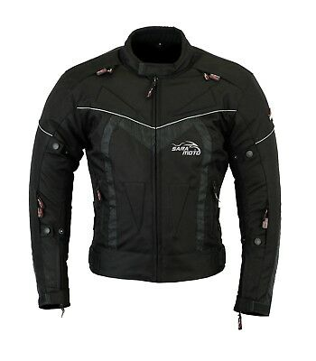 Mens Black Motorcycle Motorbike Winter Textile Jacket Waterproof with CE Armours