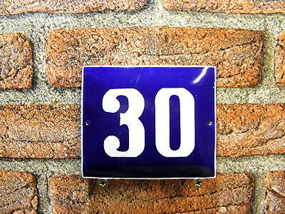 Vintage Sign House Door Number 30, Blue and White Enamel Metal Plate Authentic