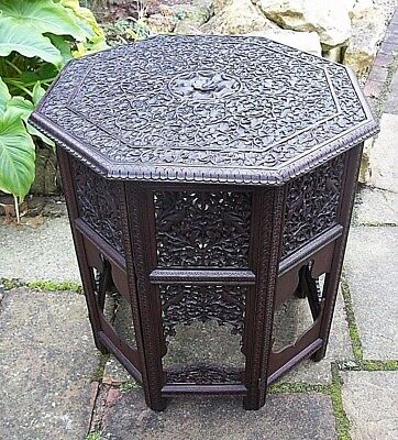 Stunning  Large Antique  Octagonal Folding  Anglo/ Indian  Side Table