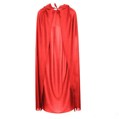 Ladies New Long Red Cape Riding Hood Adult Book Week Fancy Dress Costume