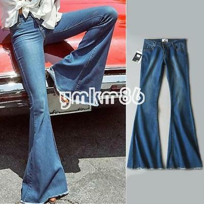 Fashion Women Skinny Flare Denim Jeans Retro Bell Bottom Stretch Pants Trousers