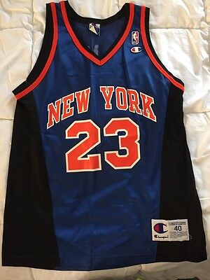 new style a120b 948dc VINTAGE CHAMPION MARCUS Camby New York Knicks Jersey Alternate Road NBA  Size 40