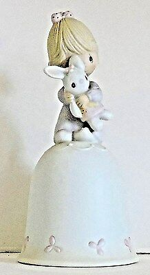 Precious Moments Figurine Bell JESUS LOVES ME Little Girl Clutching Bunny Rabbit