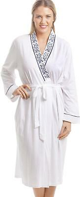 79e431ea7f8a7 Camille Womens Ladies Nightwear Classic White Bathrobe With Navy Floral  Design