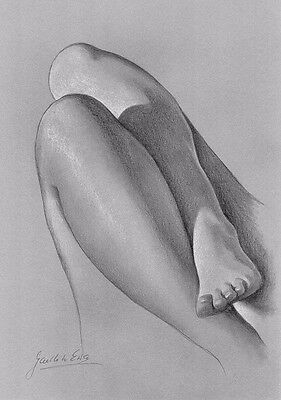 Female Nude Drawing PRINT / DRUCK, Reproduction Classical Pencil Handmade Sketch