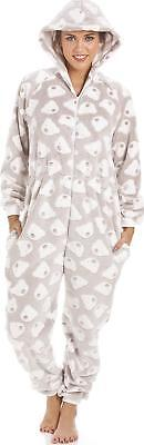 Camille Womens Ladies Mink Beige Supersoft Fleece Bear Print Hooded All In One