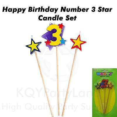 3 Piece Age 3 Birthday Candle Set Stick Star Candle Birthday Party Cake Topper