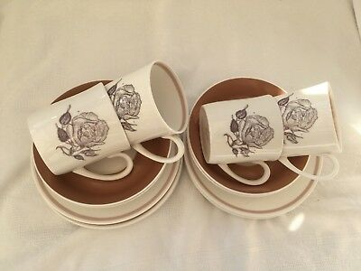 Vintage Susie Cooper Bone China - 4 Coffee Cups/Saucers/Tea Plates - Sepia Rose