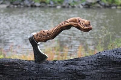 Hand Forged Hand Carved Viking Axe – Carved Handle Mermaid Axe – High Carbon