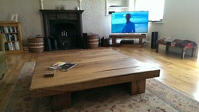 Handmade Large Square Chunky Solid Rustic Natural Wood Oak Coffee Table Lounge