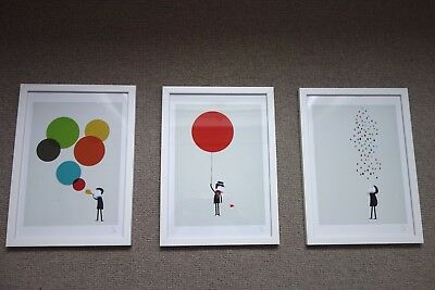 Set of framed nursery prints, unisex, colourful and quirky - original art