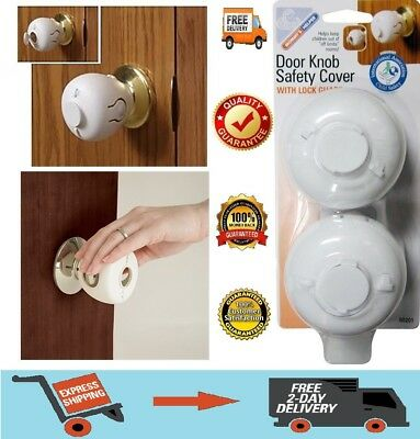 Child Proof Safe Door Knob Cover Children Safety Lock Kids Toddler Guard. 2 Pack