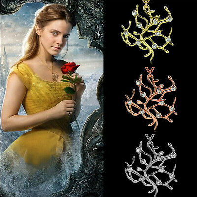 Beauty and the Beast Necklace Tree Belle Necklace Rose Pendant Lover Jewelry Hot