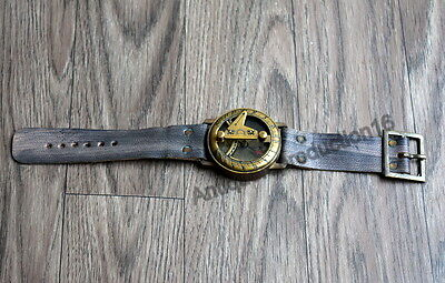 Antique Vintage Brass Sundial Compass In Wrist Watch Style Collectible Nautical