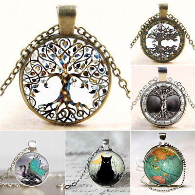 Vintage Living Tree of Life Dragon Glass Cabochon Bronze Chain Pendant Necklace