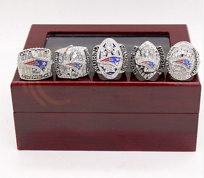 Newest 5 Pcs/set New England Patriots Championship Ring Wooden Red Box size 8-14