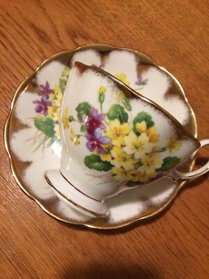 Royal Albert Bone China England Tea Cup and Saucer Wild Flowers With Gold Gilt