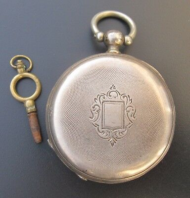 Antique French Working Sterling Silver pocket watch old vintage with key classic