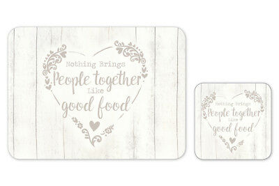 Cooksmart Food for Thought Placemats and Coasters Set of 4 Tableware Dining