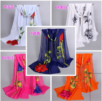 Fashion Women's Long Rose Flower Print Chiffon Scart Soft Wrap Lady Shawl Silk